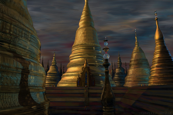 Landscape with Stupas, a digital painting by Johan Framhout