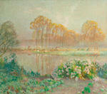 to Emile Claus (Belgian 1849 - 1924), Landscape with Pond and Blooms