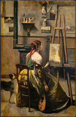 to the painting Jean-Baptiste-Camille Corot, The Artist's Studio, 1868