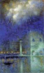 to Art7D.be, Painting for May 2016 - week 2, Lucien Lévy-Dhurmer, Feu d'artifice à Venise , 1917, charcoal and pastel