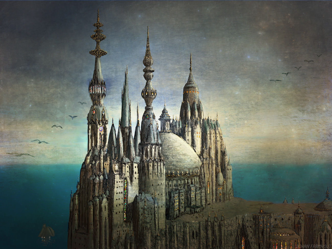 Giant cathedral, painting by Johan Framhout on art7d.be
