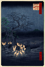 Utagawa Hiroshige - New Year's Eve Foxfires at the Changing Tree, Ōji (1857)