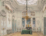 Luigi Premazzi, Interiors of the Winter Palace. The Green Dining Room, watercolour, 1852
