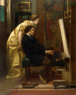 Alfred Stevens, (1823–1906), The painter and his model, 1855