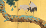 Yokoyama Taikan (1868-1958), Pine Trees and Cranes. Pair of six-panel screens. Ink, colour, gold and gold leaf on paper.