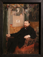 Jan Van Beers (Belgan, 1852-1927), The composor Peter Benoit, 1883 (on the background a photo of the painter Bastien Lepage)