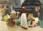 Benjamin Evans Ward, London Flower Girls, Piccadilly Circus (1895)