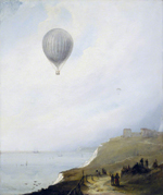 Edward William Cocks (b.c.1803), Balloon over Cliffs