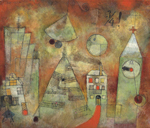 Paul Klee, Schicksalstunde um dreiviertel zwölf, 1922, oil on chalk-primed muslin mounted on panel