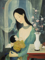 Lê Pho (1907 – 2001), Maternity, c.1940s, ink and gouache on silk, fixed on paper, laid on cardboard