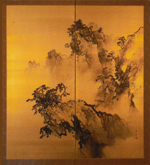 Shunsen, Japanese Screen, Craggy Landscape, Ink painting On Gold Silk