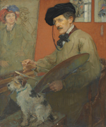 Ernest Borough Johnson, 1866-1949, Portait of the artist and his dog, 1919?, oil on canvas