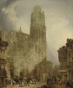 David Roberts, 1796-1864, West front of Notre dame cathedral, Rouen, 1825, oil on canvas