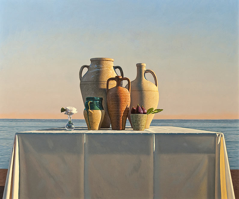 David Ligare, Still Life with Pots and Fig and Rose