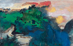 to Daquian Zhang (1899-1983), Spring dawns upon the colourful Hills